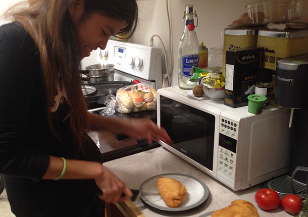 Jess learning how to make bannock
