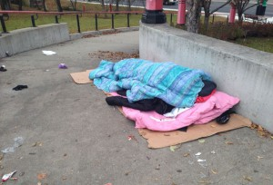 Homeless in Thunder Bay - image taken October 26 2015 - Ontario promises to end homelessness in ten years.