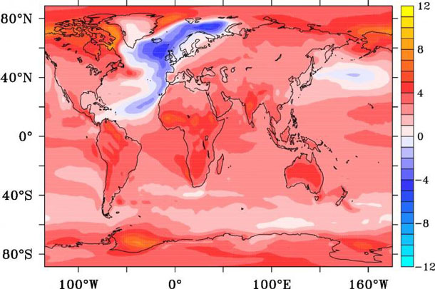 This is a temperature anomaly in degrees Celsius after 95 years from the onset of an AMOC collapse.