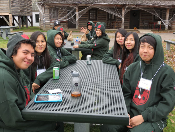 Junior Canadian Rangers enjoy a short break at Fort William Historical Park