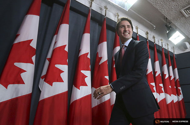 Canada's Liberal leader and Prime Minister-designate Justin Trudeau leaves at the conclusion of a news conference in Ottawa, Ontario, October 20, 2015. REUTERS/Chris Wattie