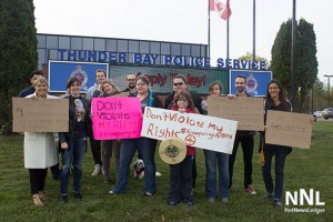 Lakehead University Law Students rally outside of Thunder Bay Police Headquarters on Balmoral
