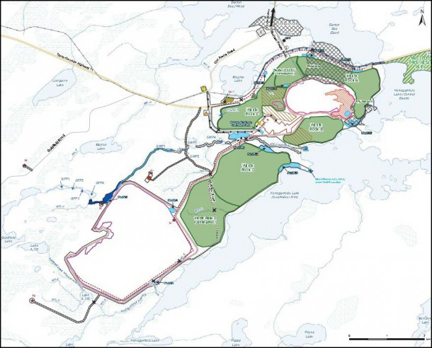 The project development area measures approximately 9 by 3 kilometres, bounded on three sides by Kenogamisis Lake. Mining operations will utterly transform this area. Image by Greenstone Gold Mines.