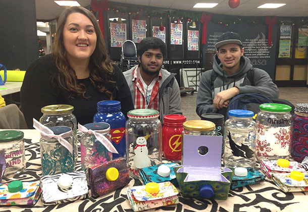 First-Year Business student groups 'upcycled' materials to create products sold in support of the Emergency Student Food Bank at Confederation College.