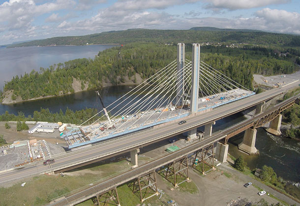 Hatch Mott MacDonald is providing construction administration and technical oversight of the new Nipigon River Bridge, Ontario-s first cable-stayed bridge. Located along the TransCanada Highway east of Thunder Bay, the $106 million bridge is scheduled to open in the near future. (CNW Group/HATCH)