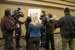 Former Prime Minister Paul Martin in Thunder Bay with media after keynote address