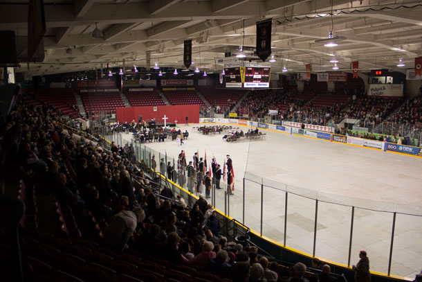 A large crowd of people gathered at Fort William Gardens this morning to honour those brave people who served in Canada's Armed Forces.