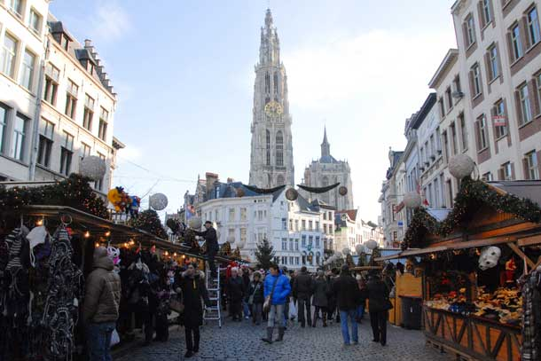 The market in Antwerp, Belgium. Credit: Copyright 2015 Kathy Hunt
