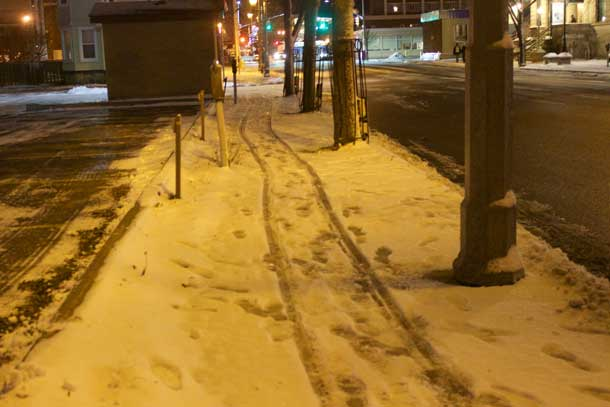 Sidewalk along Donald Street East in Thunder Bay at 6:00PM on December 14 2015 hours after snowfall stopped