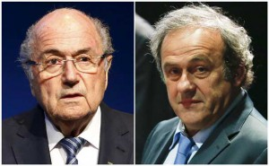 FIFA President Sepp Blatter addressing a news conference at the FIFA headquarters in Zurich, Switzerland June 2, 2015 and UEFA President Michel Platini (R) attending the 65th FIFA Congress in Zurich, Switzerland, May 29, 2015. REUTERS/Ruben Sprich/Files