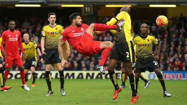 Football Soccer - Watford v Liverpool - Barclays Premier League - Vicarage Road - 20/12/15 Liverpool's Emre Can and Watford's Allan Nyom in action Reuters / Cathal McNaughton Livepic