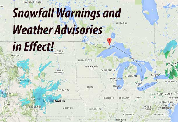 Snowfall warning for: =new= Dryden - Ignace =new= Fort Frances - Rainy Lake =new= Sioux Lookout - Savant Lake.  --------------------------------------------------------------------- ==Discussion==  Snowfall, with total amounts of about 15 cm is expected.  A developing Colorado low is forecast to track northeastwards  tonight across the United States Central Plains states and reach  northern Minnesota midday on Wednesday. As the storm approaches, a  large area of snow is expected to spread across northwestern Ontario  beginning overnight and continue through the day on Wednesday before  tapering off Wednesday night. Snowfall amounts of 15 centimetres is  possible across an area extending from the Minnesota border north to  Sioux Lookout. There is a possibility for the snowfall warning to be  extended as the exact track of the Colorado low becomes clearer as
