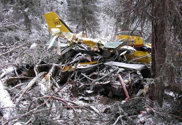 Image of Wasaya Airways Flight 127 that crashed on Friday resulting in the death of the pilot. There were no passengers onboard the aircraft.