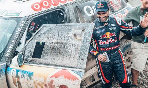 Nasser Al-Attiyah (QAT) from Axion X-Raid Team at the end of the stage 3 of Rally Dakar 2016 from Termas de Rio Hondo to Jujuy, Argentina on January 5, 2016.