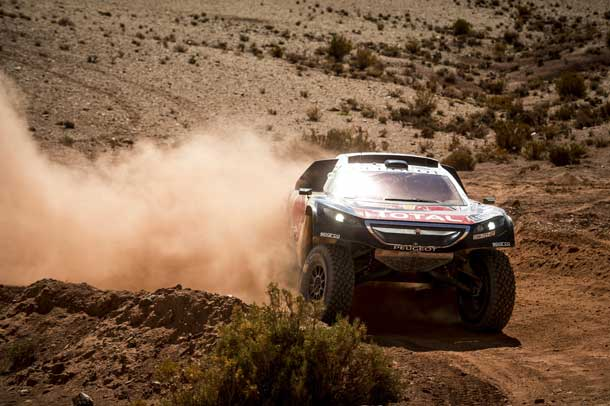Carlos Sainz (ESP) of Team Peugeot-Total races during stage 07 of Rally Dakar 2016 from Uyuni, Bolivia to Salta, Argentina on January 9, 2016