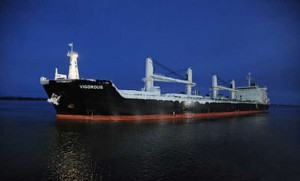 The Vigorous, first ocean-going vessel to reach the Port of Montreal without a stopover in 2016.