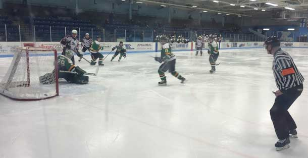 Action from the Dryden GM Ice Dogs and Thunder Bay North Stars game during the 2016 SIJHL Showcase