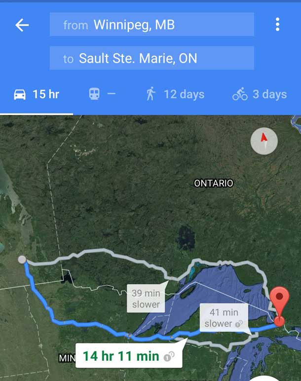 Map showing one alternative route from Winnipeg to Sault Ste Marie