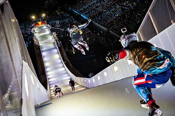 The fastest Ice Cross Downhill track ever produced the longest jump ever and some of the most dramatic action in the sport's history in Munich on Saturday with American Cameron Naasz grabbing his second straight win.