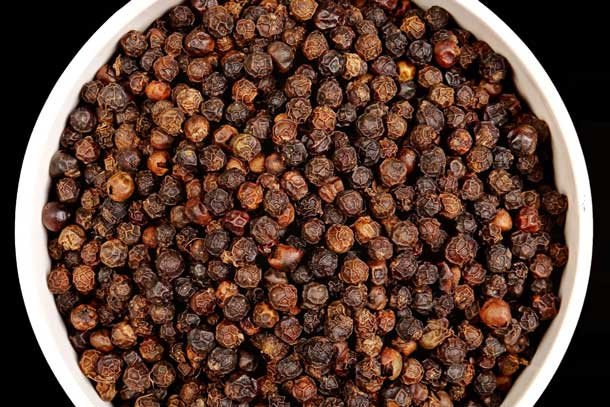 Black peppercorns. Credit iStock PRABHASTROY