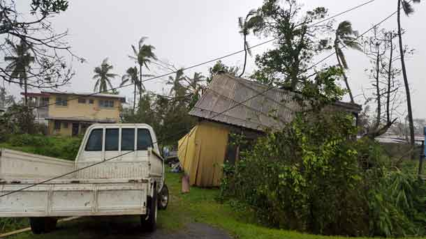 Buildings and trees are damaged after Cyclone Winston swept through the town of Ba on Fiji's Viti Levu Island, February 21, 2016.   REUTERS/Jay Dayal