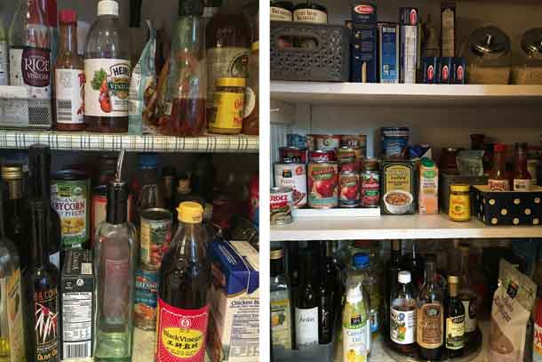 The pantry before (left) and after being cleaned out and organized. Credit: Copyright 2016 Tina Caputo