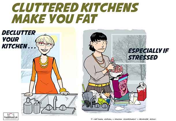 Clutter and mess increase stress in your kitchen.