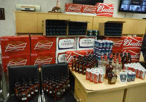 Nishnawbe-Aski Police display alcohol seized on the Winter Roads on January 29th.