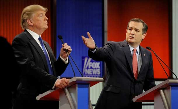 Ted Cruz gestures over at rival candidate Donald Trump at the Republican presidential candidates debate in Detroit, Michigan, March 3, 2016. REUTERS/Jim Young