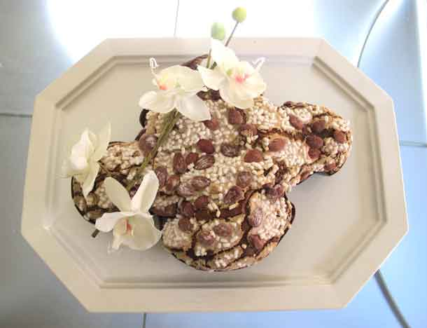 The classic Colomba di Pasqua by Loison. This dove-shaped cake is a wonderful addition to an Easter brunch or dinner. Credit: Copyright 2016 Cesare Zucca