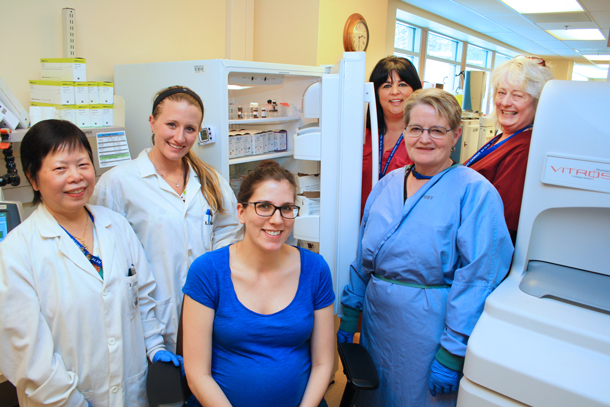 Thanks to a Family CARE Grant, medical laboratory technologists (MLTs) at the Health Sciences Centre no longer have to walk to the other side of the lab for supplies, speeding up test times for better patient care. From left, Lucy Chow, Renee McLeod, Alyssa Sabatini, Georgia Carr, Marion Petersen, and Sheila Prus.