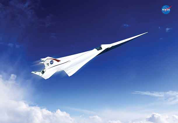 This is an artist's concept of a possible Low Boom Flight Demonstration Quiet Supersonic Transport (QueSST) X-plane design. The award of a preliminary design contract is the first step towards the possible return of supersonic passenger travel – but this time quieter and more affordable. Credits: Lockheed Martin