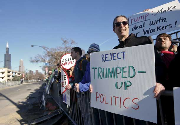 Demonstrators stand outside UIC Pavilion before Republican U.S. presidential candidate Donald Trump's rally at the University of Illinois at Chicago March 11, 2016. REUTERS/Kamil Krzaczynski