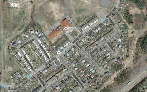Aerial View of the Brant Street area where the body of a deceased female was located.