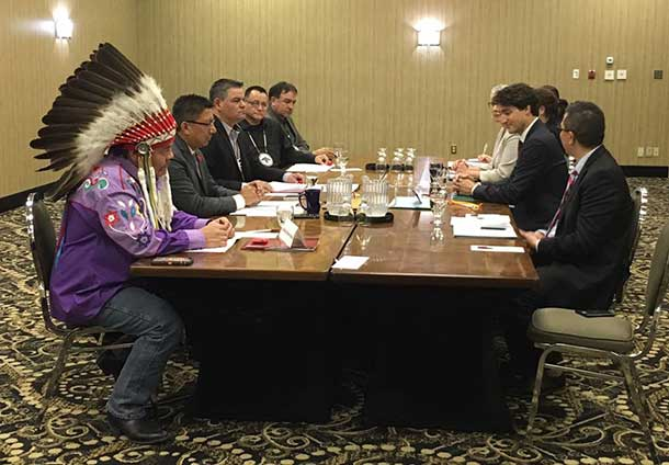First Nation leaders participating in today's meeting were: Ontario Regional Chief Isadore Day, Wiindawtegowinini; Anishinabek Nation Grand Council Chief Patrick Madahbee (chair of the Chiefs of Ontario Chief's Committee on Health); Nishnawbe Aski Nation Grand Chief Alvin Fiddler, representing 49 First Nations in northern Ontario; and Ogichidaa Warren White, Grand Chief, Grand Council Treaty #3 representing 28 First Nations in Ontario and Manitoba.