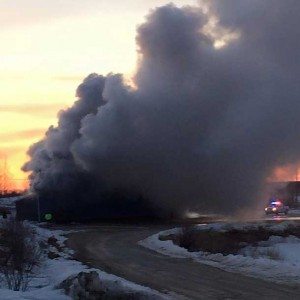 Smoke from fire as Eabametoong First Nation Community Hall burns