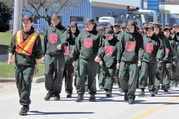 Junior Canadian Rangers march proudly during training course