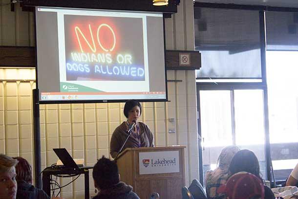Becky Sasakamoose Kuffner addresses the Unity Project at Lakehead University