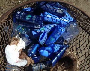 A Twenty Minute Clean up in downtown Fort William included sixty-six empty bottles of hair spray