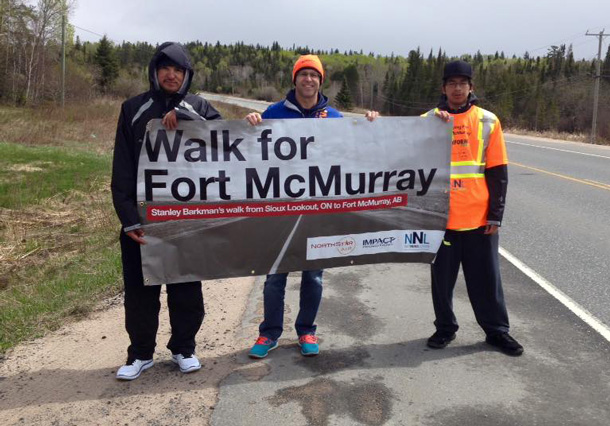 The Walk for Fort McMurray Team near Kenora Ontario