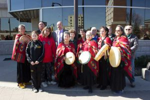 Celebrating a historic day in Thunder Bay with the raising of the Fort William First Nation Flag at City Hall
