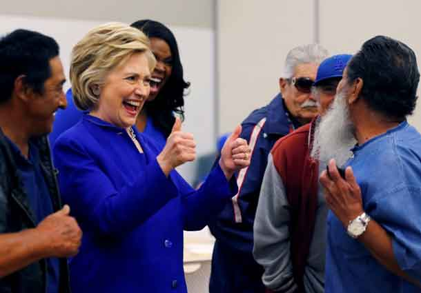 U.S. Democratic presidential candidate Hillary Clinton gestures during a campaign stop at a community center in Compton, California, United States June 6, 2016. REUTERS/Mike Blake