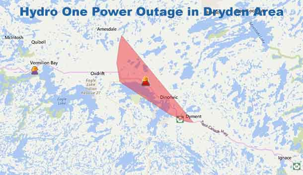 Hydro One Reports Power is out in the Dryden area