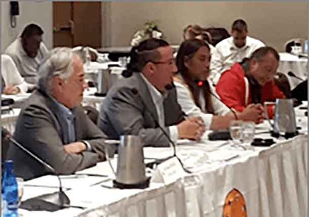 Left to right: AFN Regional Chief Ghislain Picard, AMC Grand Chief Nepinak, Mohawk of Kahnasatake Grand Chief Serge Simon and Dene Nation Chief Bill Erasmus unified on energy sovereignty in Quebec City