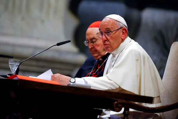 Pope Francis talks during the opening of a meeting of Rome's diocese in Saint John Lateran basilica in Rome, Italy, June 16, 2016. REUTERS/Tony Gentile