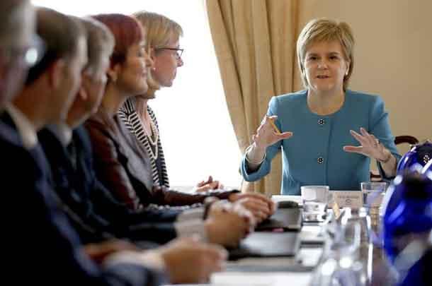 Scotland's First Minister Nicola Sturgeon speaks during an emergency cabinet meeting at Bute House in Edinburgh, Scotland June 25, 2016. REUTERS/Jane Barlow/Pool