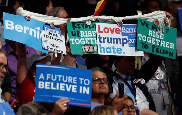 Anti-Clinton Signs at Democratic Conversion