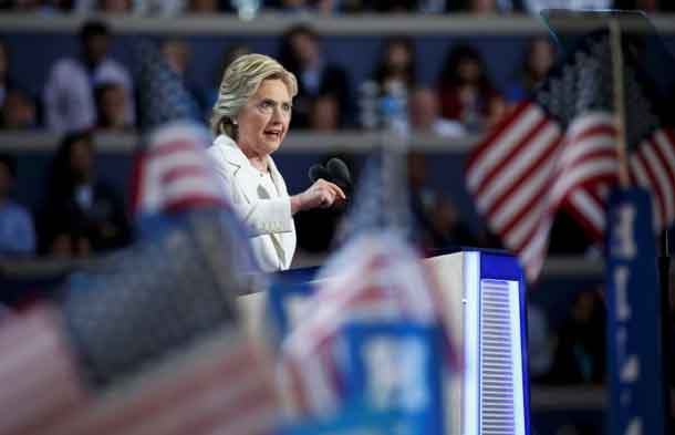 Democratic presidential nominee Hillary Clinton accepts the nomination on the fourth and final night at the Democratic National Convention in Philadelphia, Pennsylvania, U.S. July 28, 2016. REUTERS/Lucy Nicholson