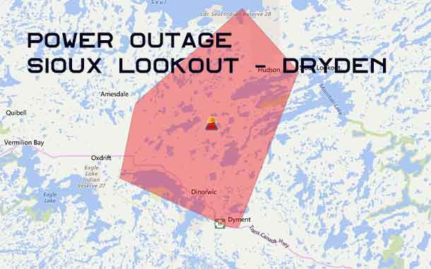 Power is out over a wide area of Northwestern Ontario including Dryden and Sioux Lookout