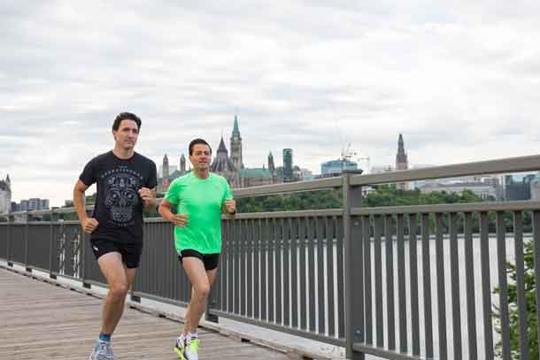 Prime Minister Justin Trudeau and President Enrique Peña Nieto go for a morning run in Ottawa PMO Photo by Adam Scotti.